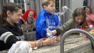 Water Bottle Prank and Clown Running Around