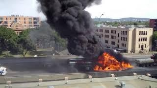 MONTREAL QUEBEC  CANADA DIESEL TRUCK IN FIRE. https://clx.icu/ouS17