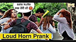 LOUD HORN PRANK IN PUBLIC | Loud horn prank on cute girl's | Pranks in India | We Insane