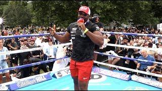 'LET'S TAKE THE P*** OUT OF EDDIE HEARN!' - DERECK CHISORA JOKES WITH THE CROWD AT PUBLIC WORKOUT