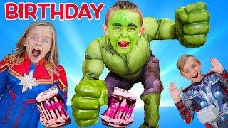 Hulk Surprise Birthday Party! Superhero Jokes!